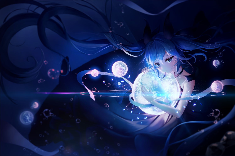 aqua_eyes aqua_hair blue deep-sea_girl_(vocaloid) hatsune_miku long_hair magic pani_(wpgns9536) underwater vocaloid water
