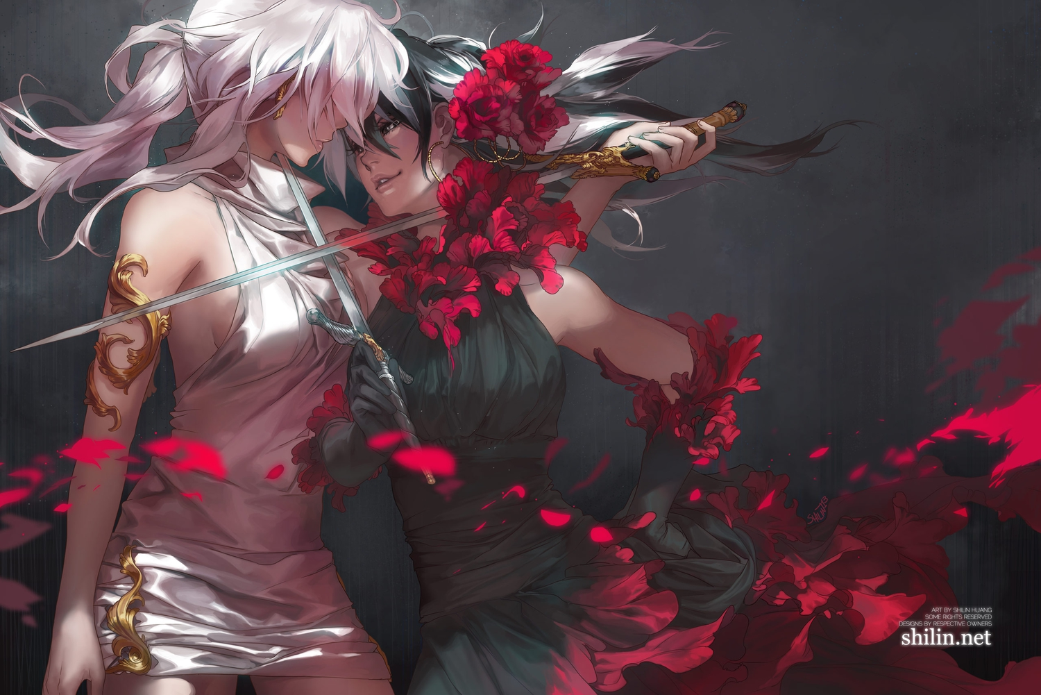 2girls black_hair carciphona dress elbow_gloves flowers gloves shilin shoujo_ai sword watermark weapon white_hair