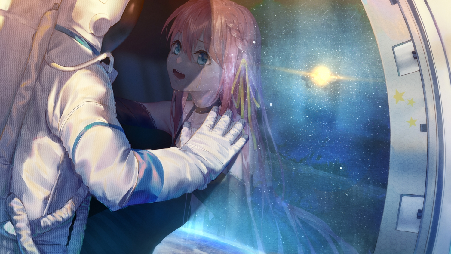 blue_eyes bodysuit braids choker crying dress ji_dao_ji long_hair original pink_hair planet ribbons space stars tears