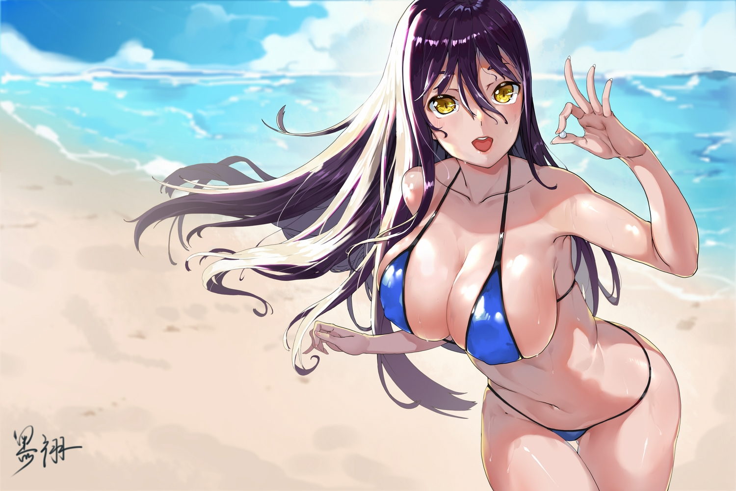 beach bikini clouds erect_nipples heiyu long_hair navel original purple_hair signed sky swimsuit water wet yellow_eyes