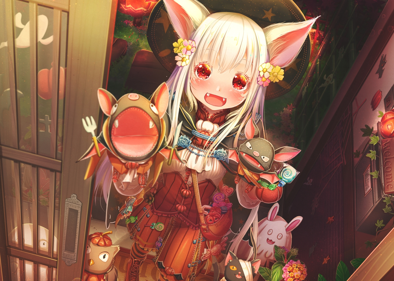 abo_(kawatasyunnnosukesabu) animal_ears boots cape doll fang halloween hat lolita_fashion original pumpkin puppet red_eyes vampire white_hair