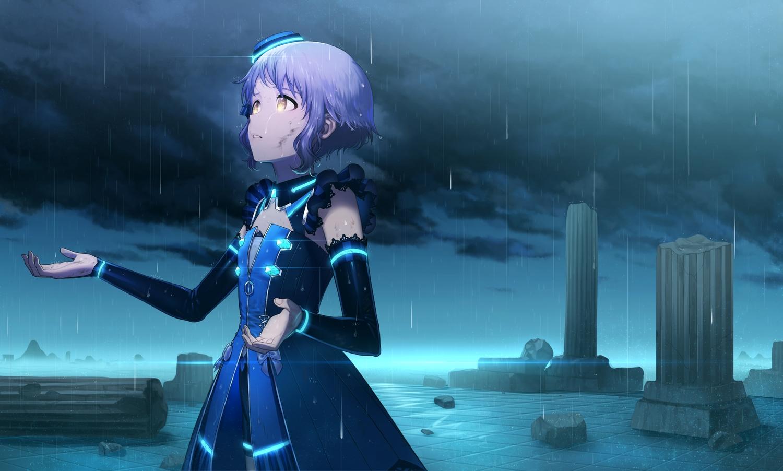 clouds flat_chest idolmaster idolmaster_million_live! makabe_mizuki mimizubare rain short_hair water