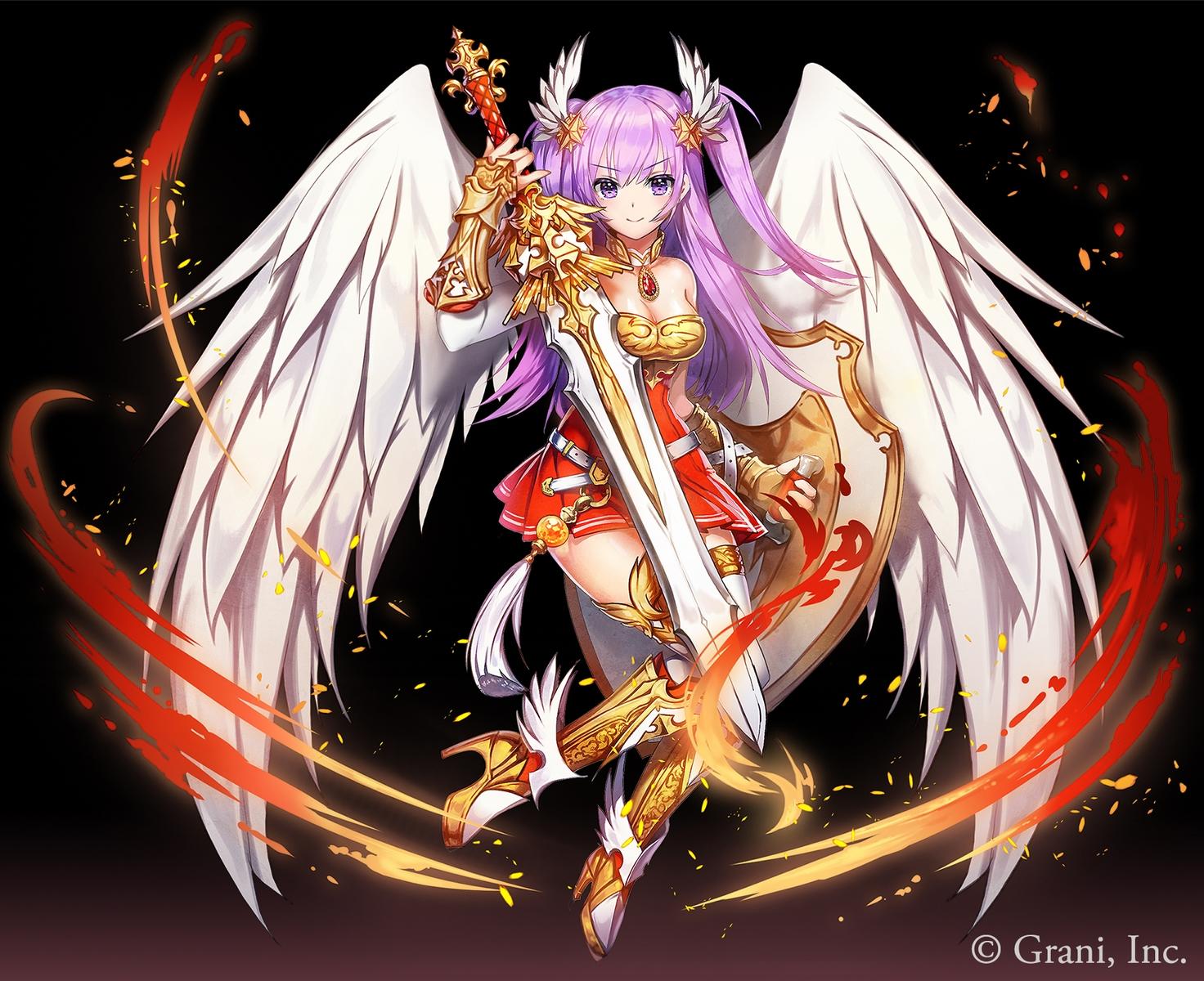 applecaramel_(acaramel) armor black boots breasts cleavage dress fire gradient kurokishi_to_shiro_no_maou long_hair purple_eyes purple_hair sword thighhighs twintails weapon wings zettai_ryouiki
