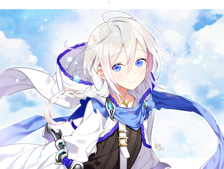 akemaru all_male blue_eyes braids clouds granblue_fantasy hoodie long_hair male noa_(granblue_fantasy) ponytail scarf signed sky trap white_hair