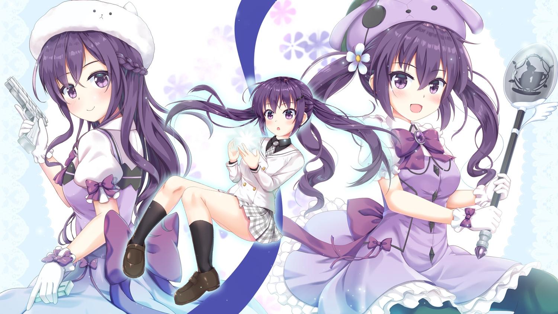 blush bow braids dress gloves gochuumon_wa_usagi_desu_ka? gun hat kneehighs long_hair niiya pantyhose purple_eyes purple_hair school_uniform skirt tedeza_rize twintails weapon