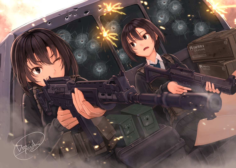 2girls black_eyes black_hair dreadtie gun original short_hair signed skirt weapon wink