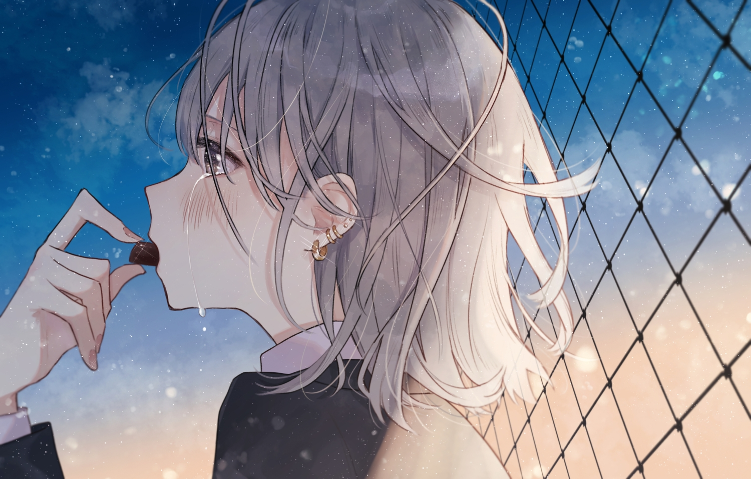 blush brown_eyes candy chocolate clouds crying gray_hair necojishi night original short_hair sky stars tears valentine