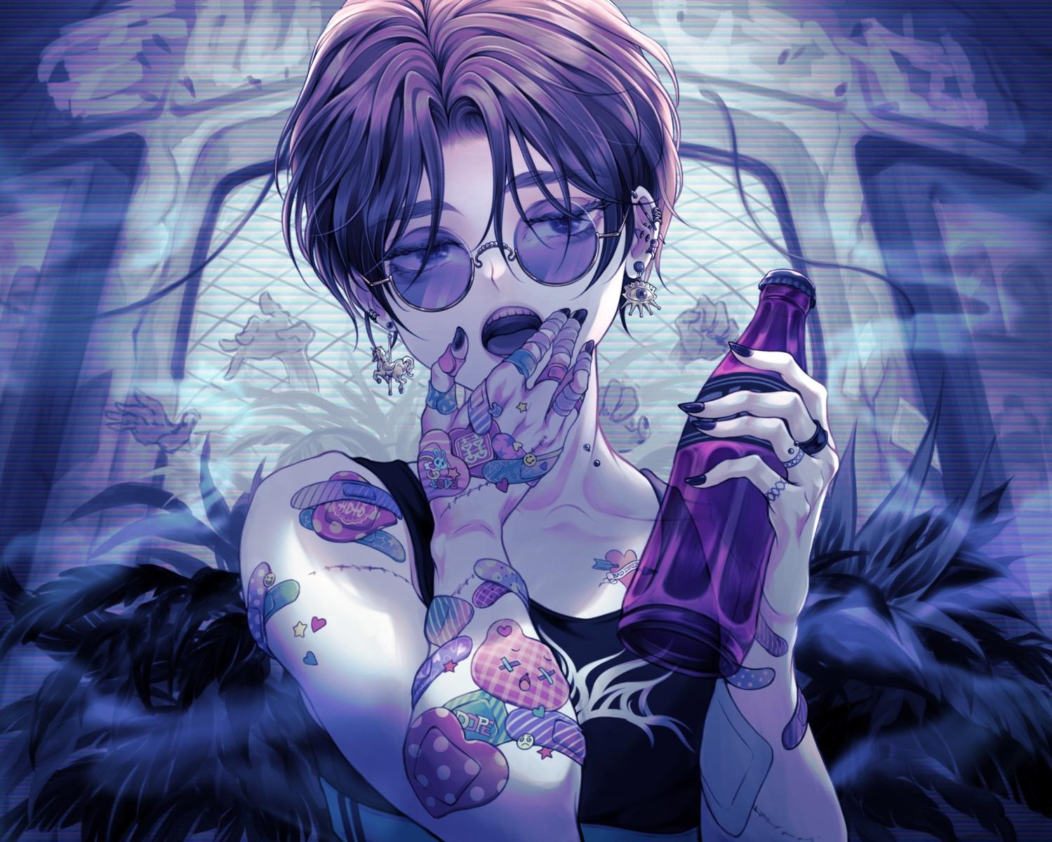 aki_(xxparadexx) all_male bandaid black_eyes black_hair drink male original scar short_hair sunglasses tattoo