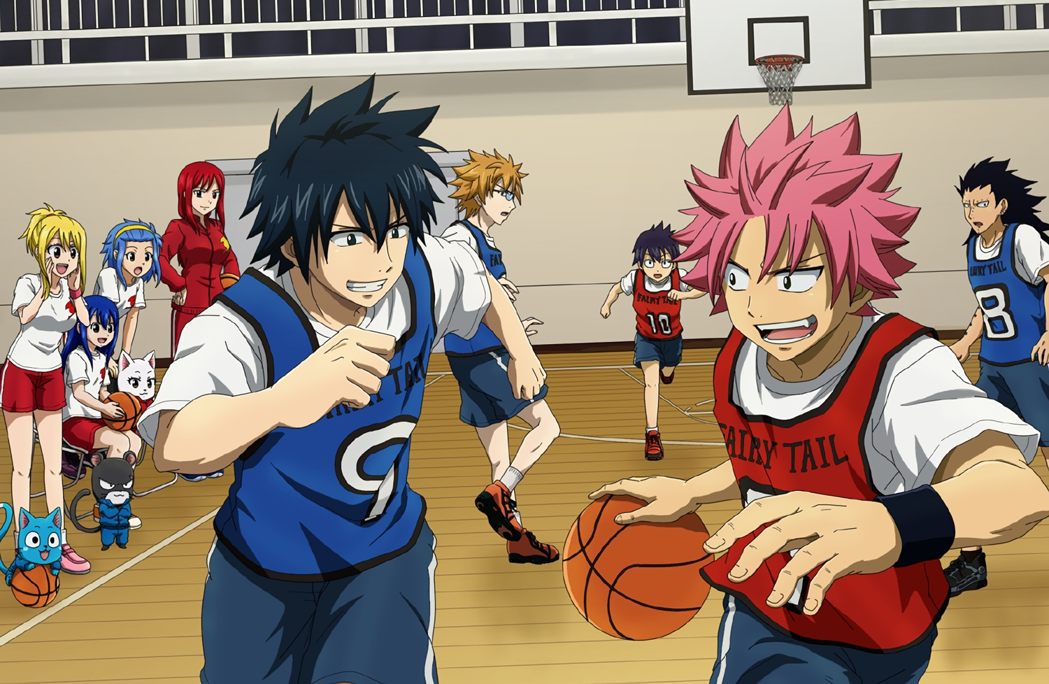 animal ball basketball black_hair blonde_hair blue_hair bluesnowcat brown_hair cat charle_(fairy_tail) erza_scarlet fairy_tail gajeel_redfox glasses gray_fullbuster group happy_(fairy_tail) headband levy_mcgarden lucy_heartfilia lyon male natsu_dragneel pantherlily pink_hair red_hair short_hair shorts socks sport wendy_marvell