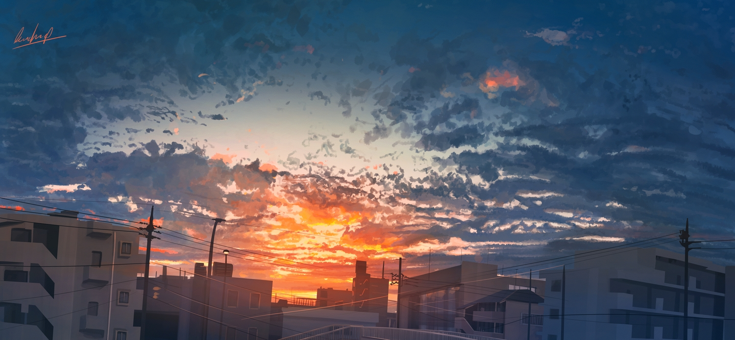 banishment building city clouds original scenic signed sky sunset
