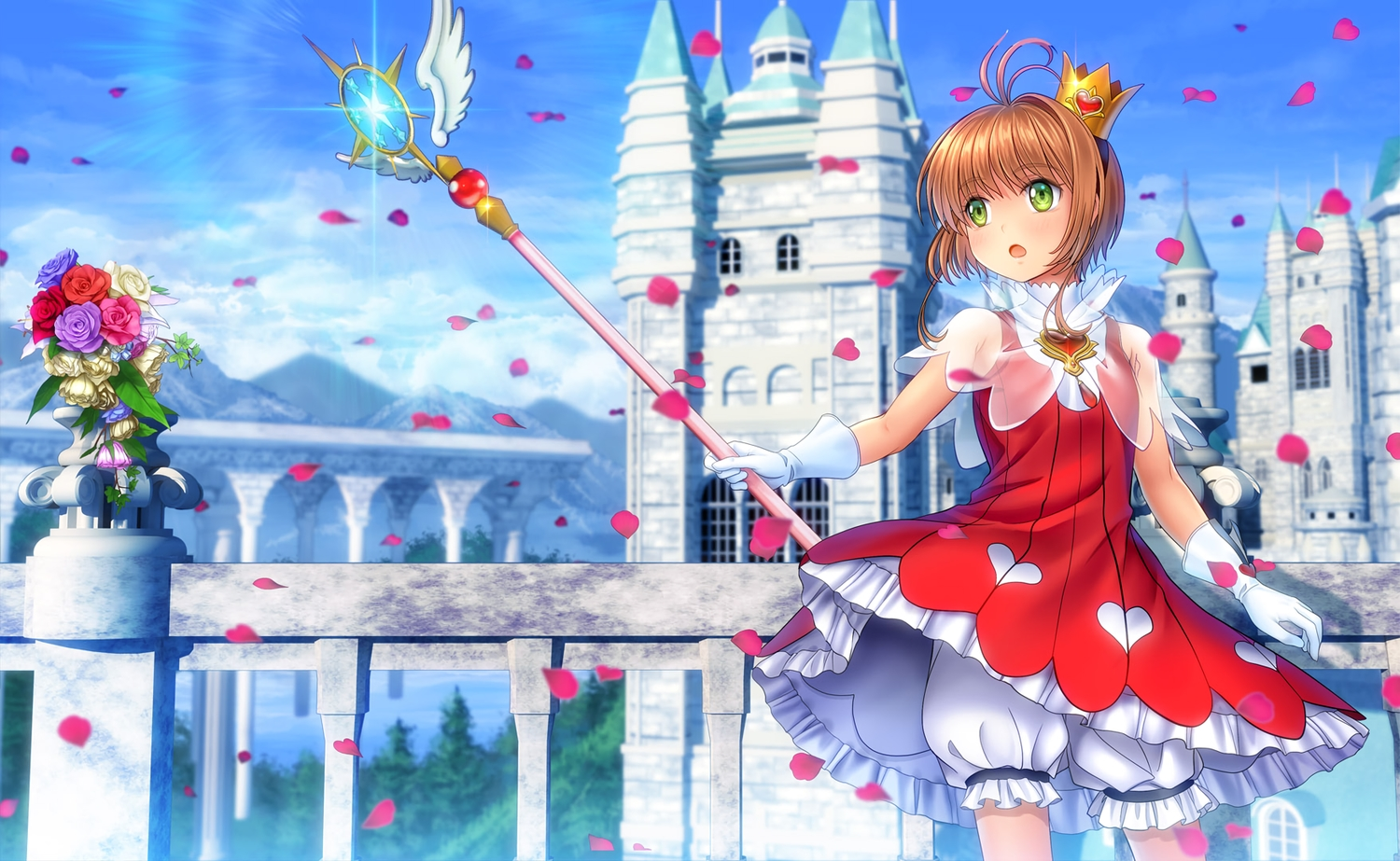 bloomers brown_hair building card_captor_sakura clouds crown dress flowers gloves green_eyes kinomoto_sakura moonknives petals short_hair sky wand
