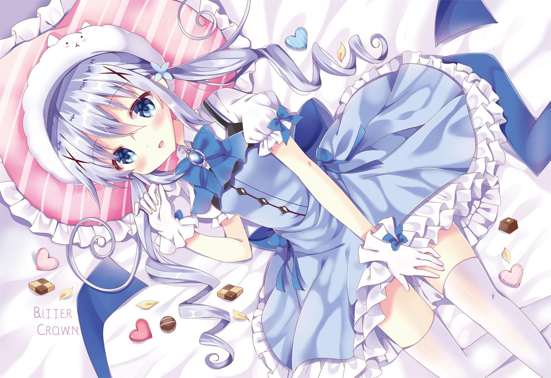 bitter_crown blue_eyes blush candy chocolate dress gloves gochuumon_wa_usagi_desu_ka? kafuu_chino long_hair thighhighs twintails waifu2x watermark zettai_ryouiki