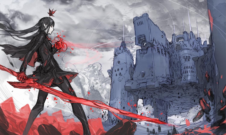 black_hair clouds ishinarimaru_shouten long_hair original pixiv_fantasia pointed_ears red_eyes sketch sky sword weapon
