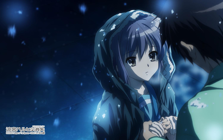 brown_eyes brown_hair kyon male nagato_yuki purple_hair school_uniform short_hair snow suzumiya_haruhi_no_yuutsu tagme_(artist) watermark