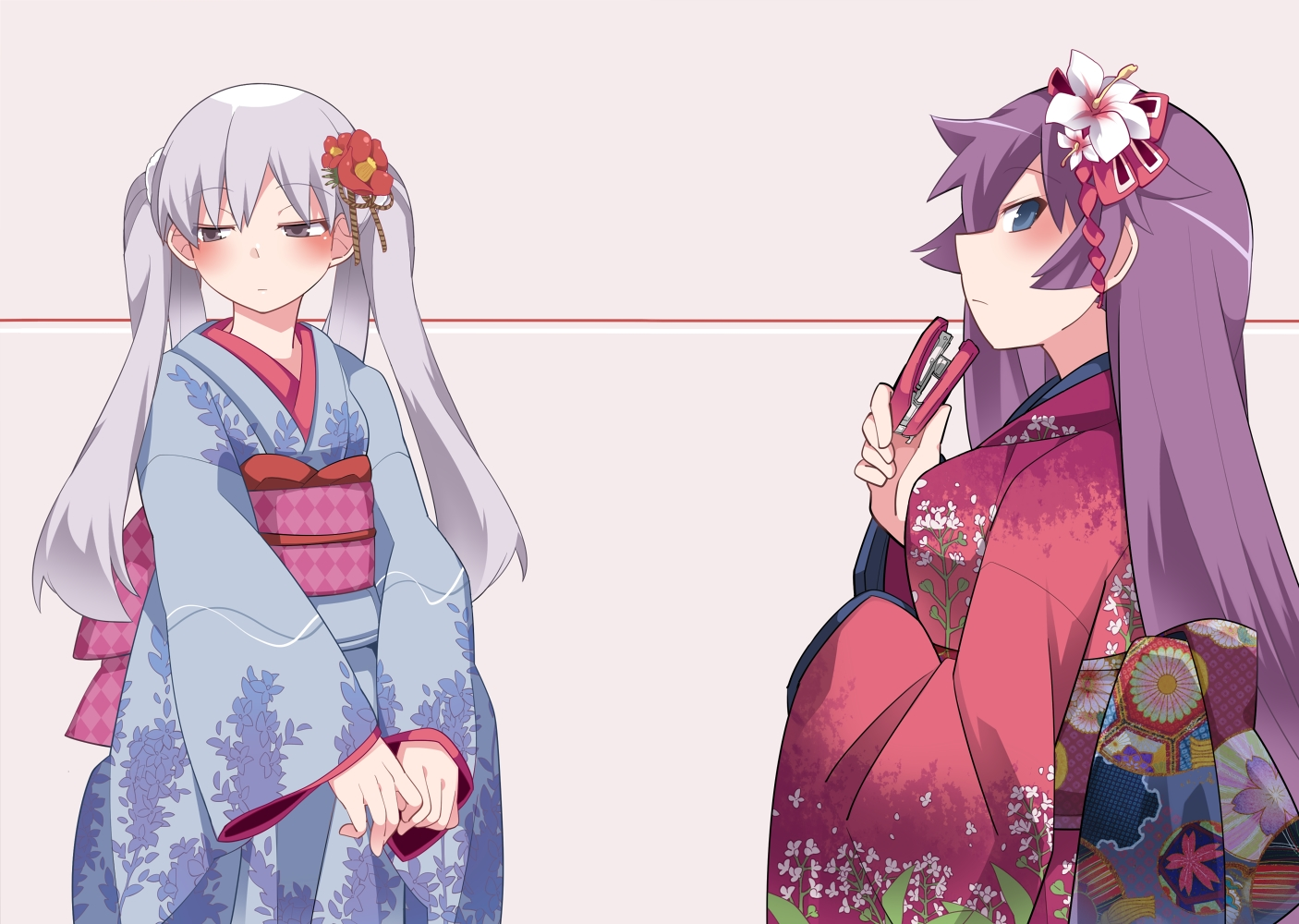 2girls bakemonogatari hammer_(sunset_beach) japanese_clothes kimono monogatari_(series) owarimonogatari senjougahara_hitagi sodachi_oikura