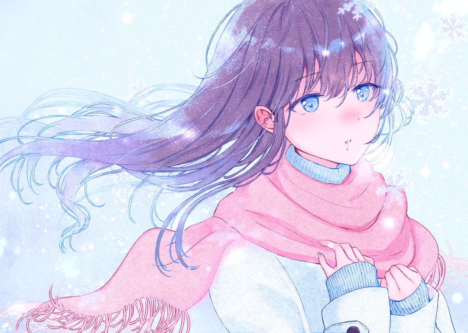 blue_eyes brown_hair long_hair original scarf tagme_(artist)