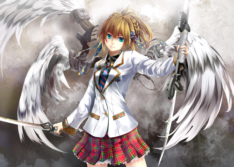 aqua_eyes blonde_hair braids gray kouji_(astral_reverie) original seifuku sword tie weapon wings
