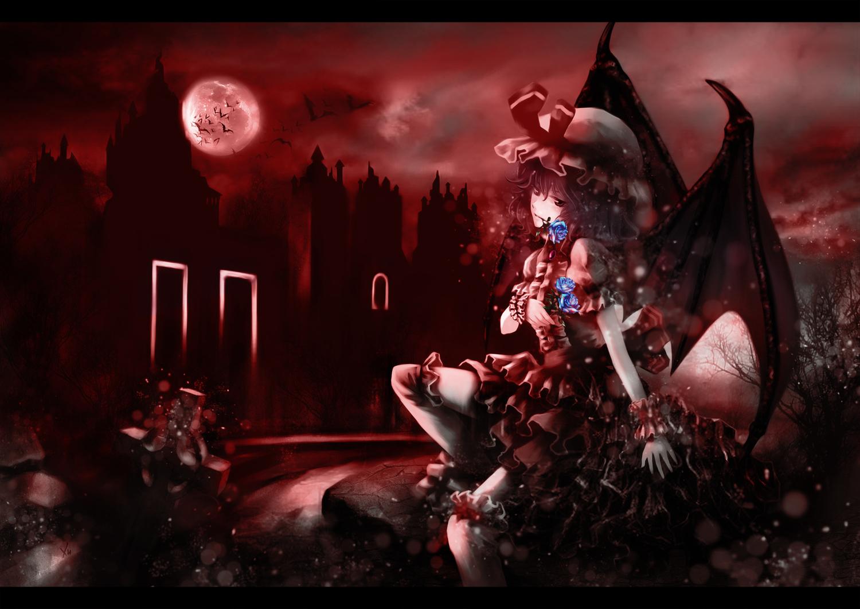 animal bat dress flowers hat heiyuen moon red red_eyes remilia_scarlet rose signed thighhighs touhou vampire wings wristwear