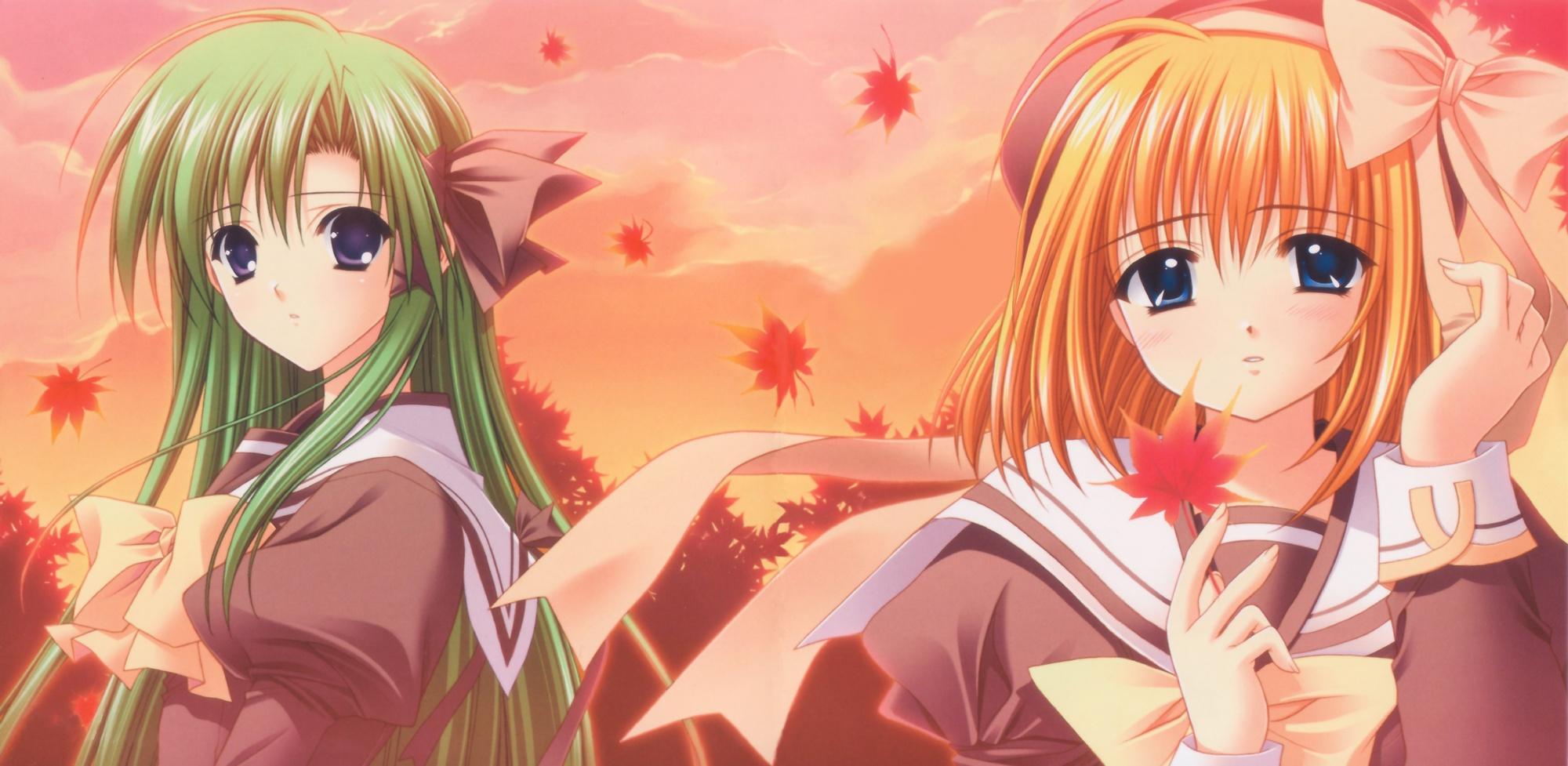 2girls autumn blue_eyes bow clouds fuyou_kaede green_hair hat headband leaves orange_hair purple_eyes ribbons school_uniform shigure_asa shuffle sky