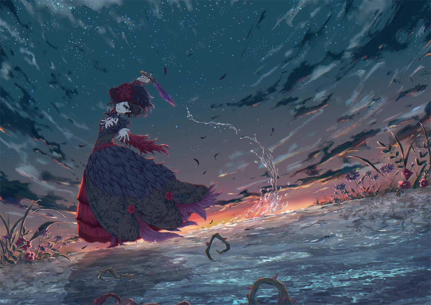 black_eyes black_hair breasts cleavage clouds dress feathers flowers identity_v koppan mary_(identity_v) short_hair sky stars sunset water