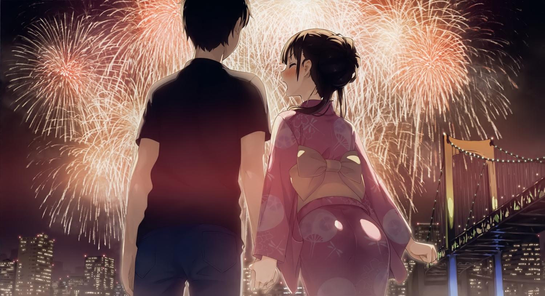 black_hair blush building city fireworks japanese_clothes kantoku male original scan short_hair yukata