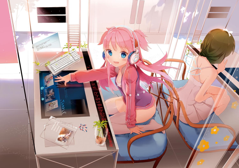 2girls anmi blue_eyes blush computer cropped dress headphones pink_hair scan thighhighs wings
