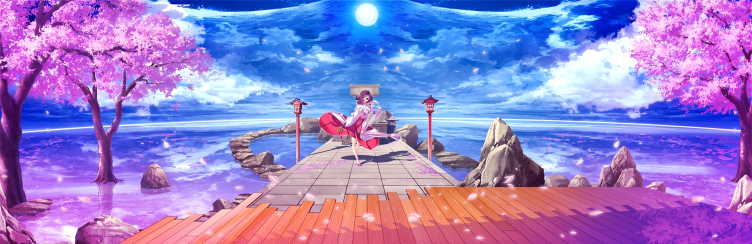 al_azif_(artist) brown_eyes cherry_blossoms clouds dualscreen flowers japanese_clothes miko original petals purple_hair scenic short_hair sky water