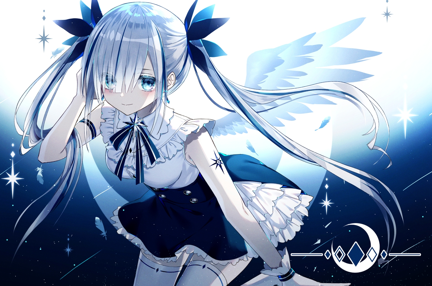 aliasing angel blue_eyes feathers gloves gray_hair kazunehaka long_hair original polychromatic thighhighs twintails wings