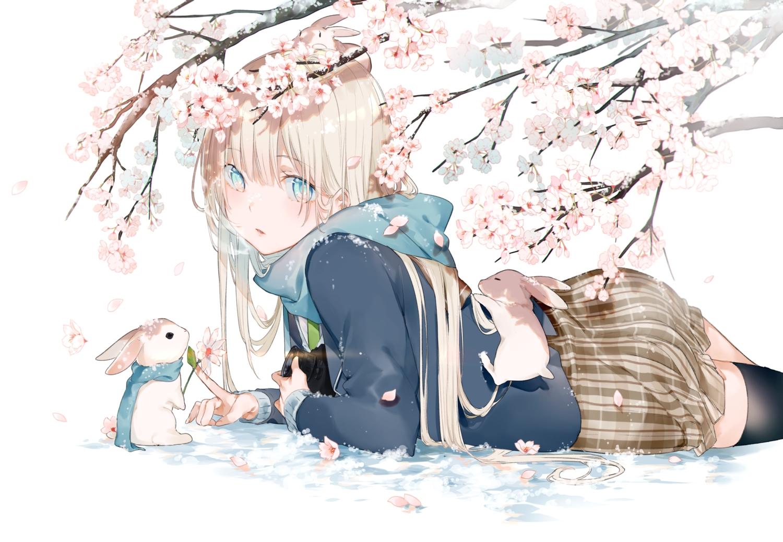 animal aqua_eyes blonde_hair cherry_blossoms flowers miwano_ragu original rabbit scarf school_uniform skirt thighhighs