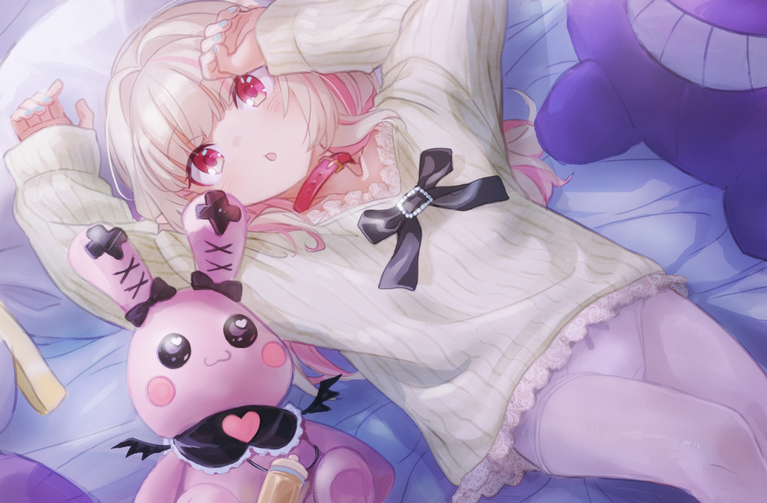bed bunny collar demon loli makaino_ririmu nijisanji panties pantyhose pointed_ears sabamen underwear