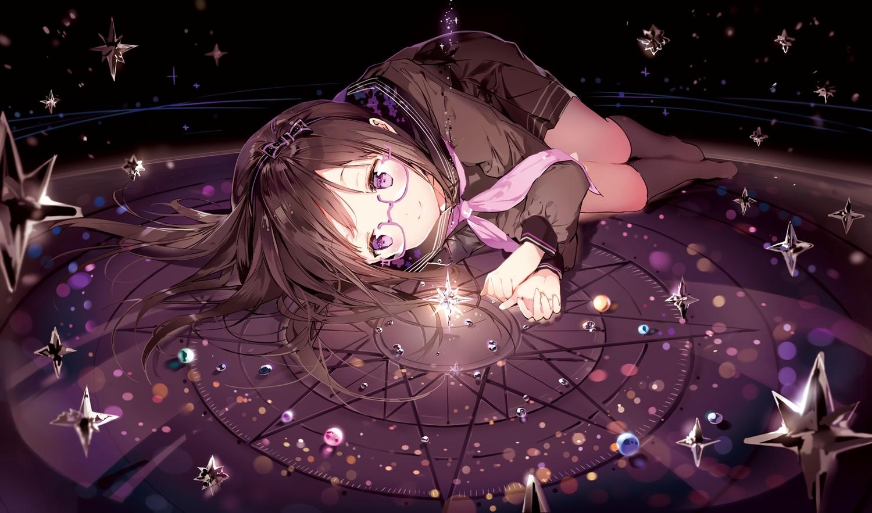 anmi black_hair bow cropped glasses headband kneehighs long_hair original purple_eyes scan school_uniform skirt stars