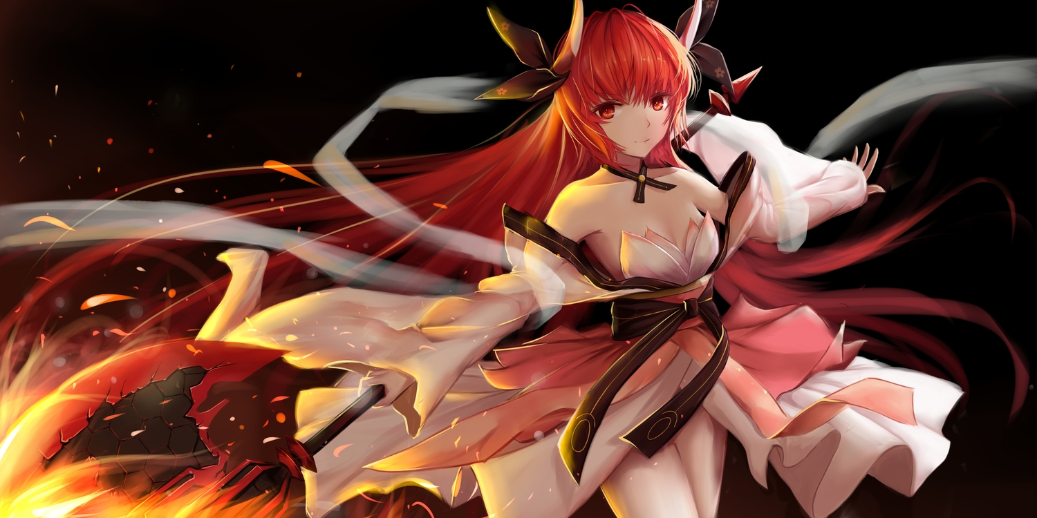 breasts cleavage date_a_live horns huijin_zhi_ling itsuka_kotori japanese_clothes long_hair red_eyes red_hair weapon