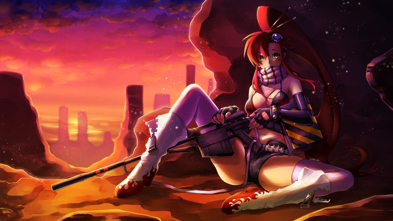 bikini_top breasts cleavage clouds eudetenis gun long_hair ponytail red_hair scarf shorts signed sky sunset tengen_toppa_gurren_lagann thighhighs weapon yellow_eyes yoko_littner