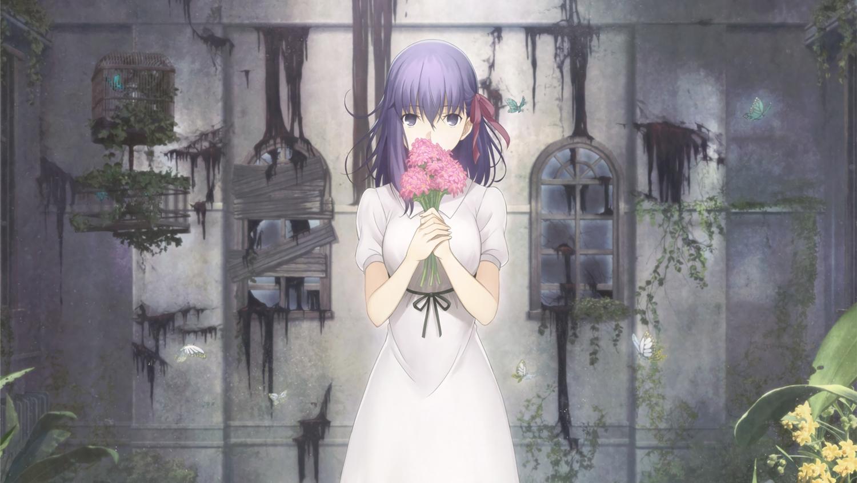 bow butterfly dress fate_(series) fate/stay_night flowers matou_sakura photoshop purple_eyes purple_hair tagme_(artist) waifu2x