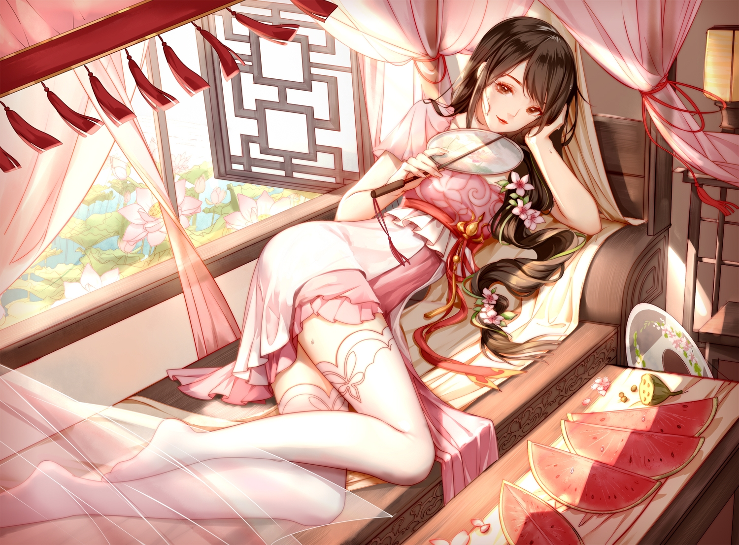 black_hair brown_eyes chinese_clothes clouble dress fan flowers food fruit long_hair original ponytail thighhighs watermelon