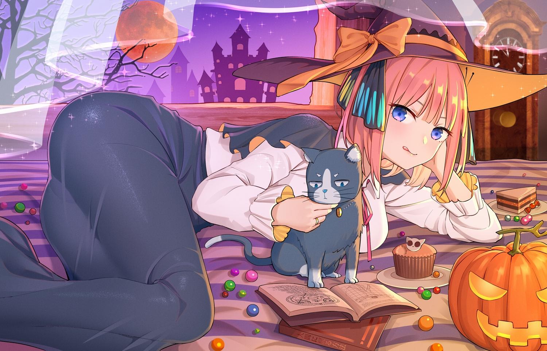animal ass bed boots bow building cake cape cat food go-toubun_no_hanayome halloween hat kongbai moon nakano_nino night pumpkin skirt sky tree witch witch_hat