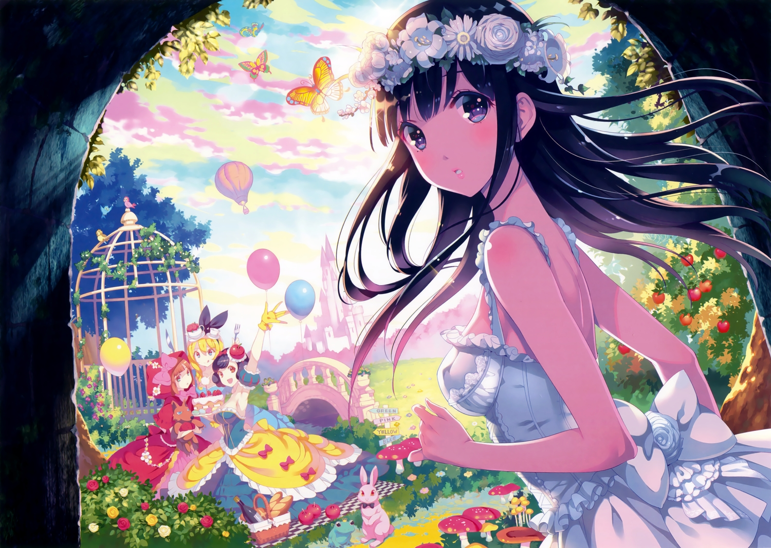 alice_in_wonderland alice_(wonderland) animal apple aqua_eyes bird black_hair blonde_hair blue_eyes blush bow breasts building butterfly cake clouds dress drink flowers food frog fruit gloves grass headdress leaves little_red_riding_hood long_hair nishimura_eri no_bra orange_eyes orange_hair original purple_hair rabbit red_riding_hood rose scan short_hair snow_white snow_white_and_the_seven_dwarfs tree