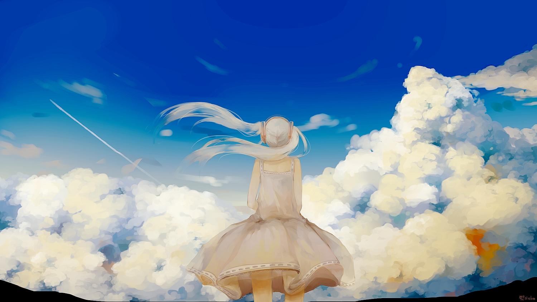 clouds dress hatsune_miku kabenekoneko long_hair signed sky twintails vocaloid white_hair