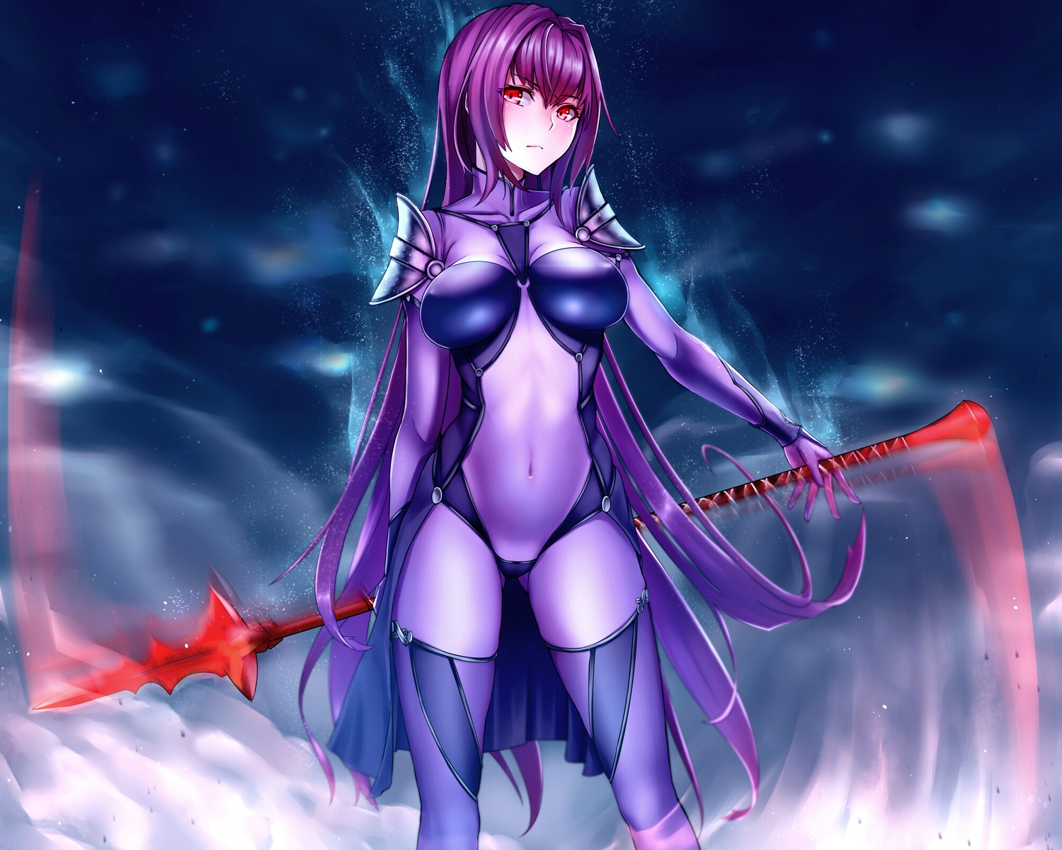 armor bodysuit cropped erect_nipples fate/grand_order fate_(series) long_hair purple_hair red_eyes scathach_(fate/grand_order) shijiu_(adamhutt) skintight spear weapon