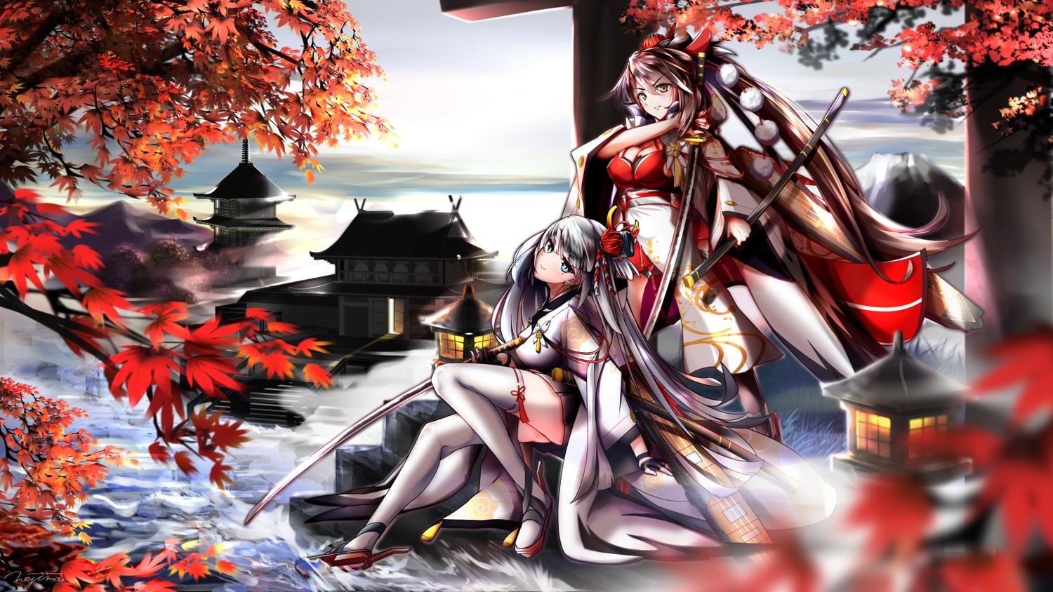 2girls anthropomorphism autumn azur_lane blue_eyes breasts brown_hair building cleavage clouds gray_hair japanese_clothes katana kimono leaves long_hair ponytail shoukaku_(azur_lane) sky sword tagme_(artist) thighhighs water weapon yellow_eyes zuikaku_(azur_lane)