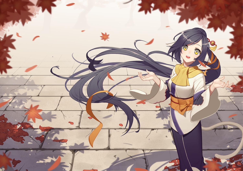 autumn bow icarus_(artist) kuon_(utawarerumono) leaves long_hair utawarerumono utawarerumono_itsuwari_no_kamen yellow_eyes