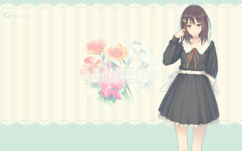 black_eyes black_hair flowers_(game) innocent_grey kousaka_mayuri school_uniform sugina_miki