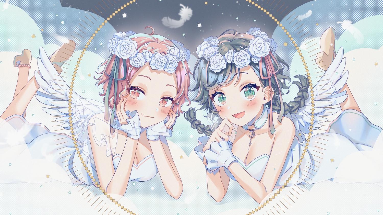 2girls angel aqua_eyes black_hair blush braids cat_smile cocone_(cocotsuki) cocotsuki_project dress feathers hina_(hinalovesugita) long_hair pink_eyes pink_hair short_hair tsukine_(cocotsuki) twintails wings