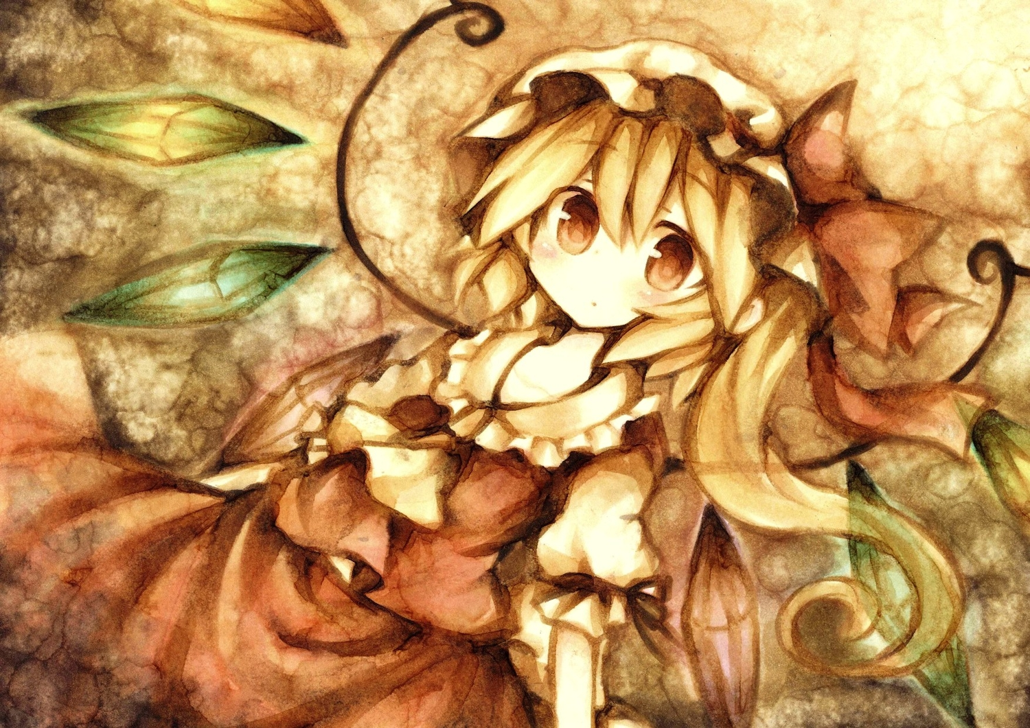 blonde_hair flandre_scarlet hat polychromatic ponytail red_eyes touhou vampire wings wiriam07