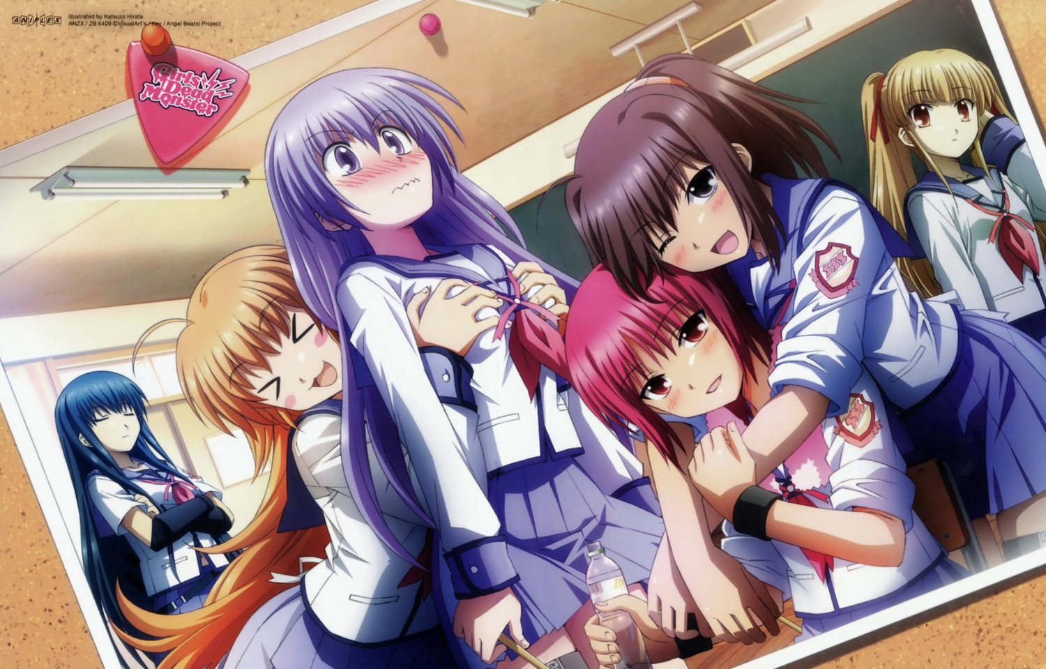 angel_beats! blonde_hair blue_hair blush breast_grab brown_eyes brown_hair drink gray_eyes group hirata_katsuzou hisako hug irie_miyuki iwasawa_masami key long_hair orange_hair ponytail purple_eyes purple_hair red_eyes red_hair scan school_uniform sekine_shiori shiina short_hair shoujo_ai skirt twintails visualart watermark wink wristwear yusa