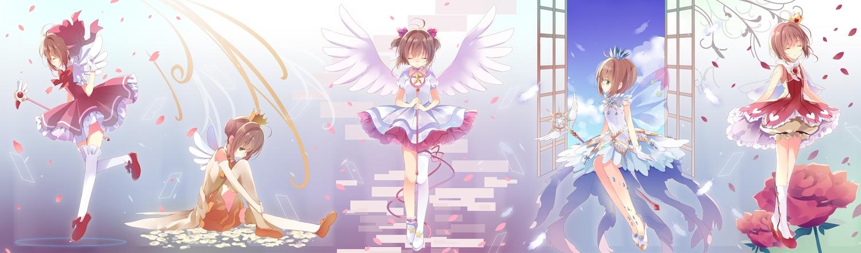 brown_hair card_captor_sakura dress gloves gradient green_eyes kinomoto_sakura petals shiiba_nae short_hair thighhighs wand wings