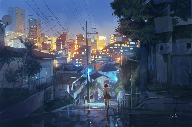 brown_hair building city kneehighs original scenic school_uniform short_hair signed skirt sky tree wayne_chan