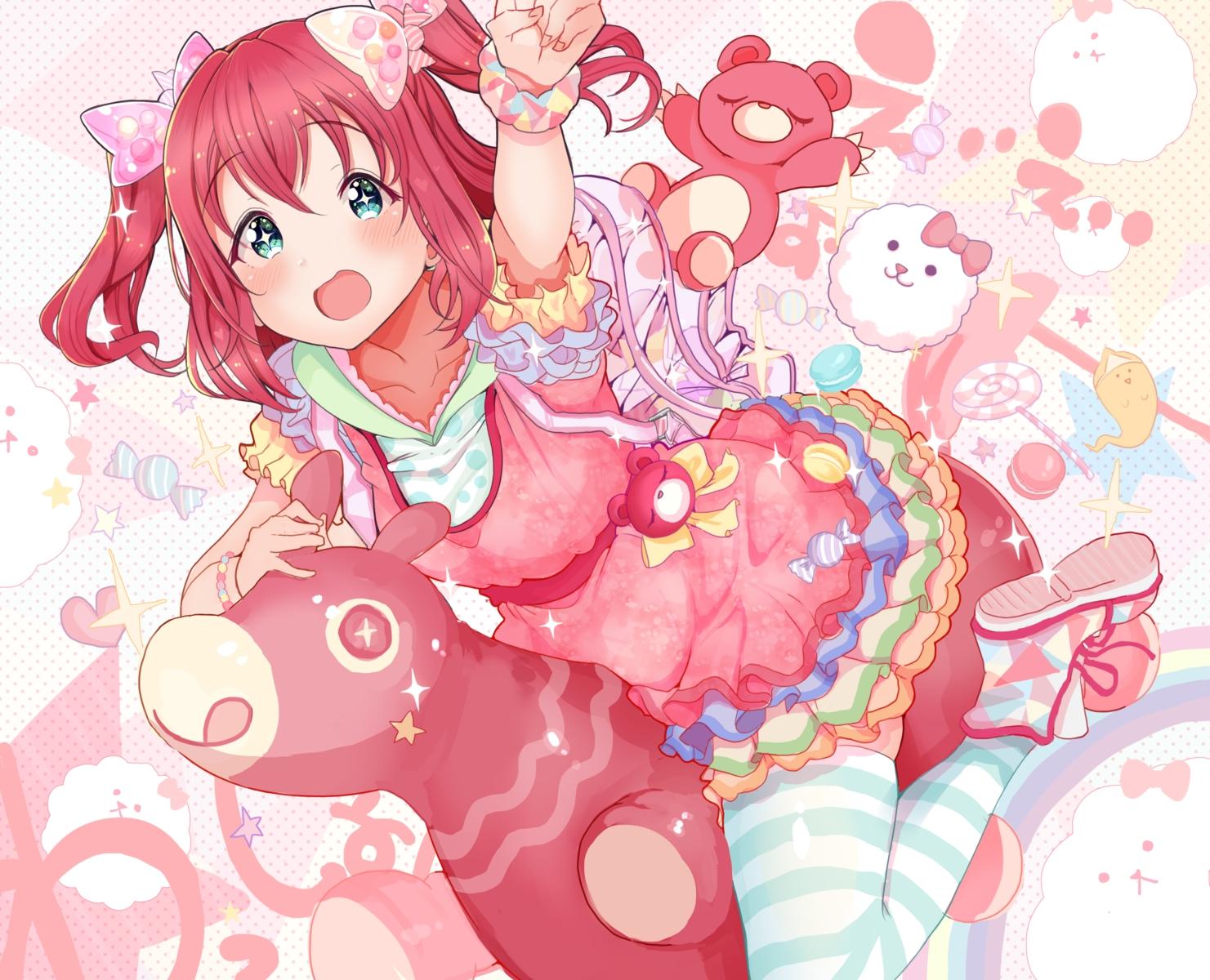 aqua_eyes blush bow hoodie kurosawa_ruby kuzu_kow love_live!_school_idol_project love_live!_sunshine!! red_hair short_hair teddy_bear thighhighs twintails wristwear