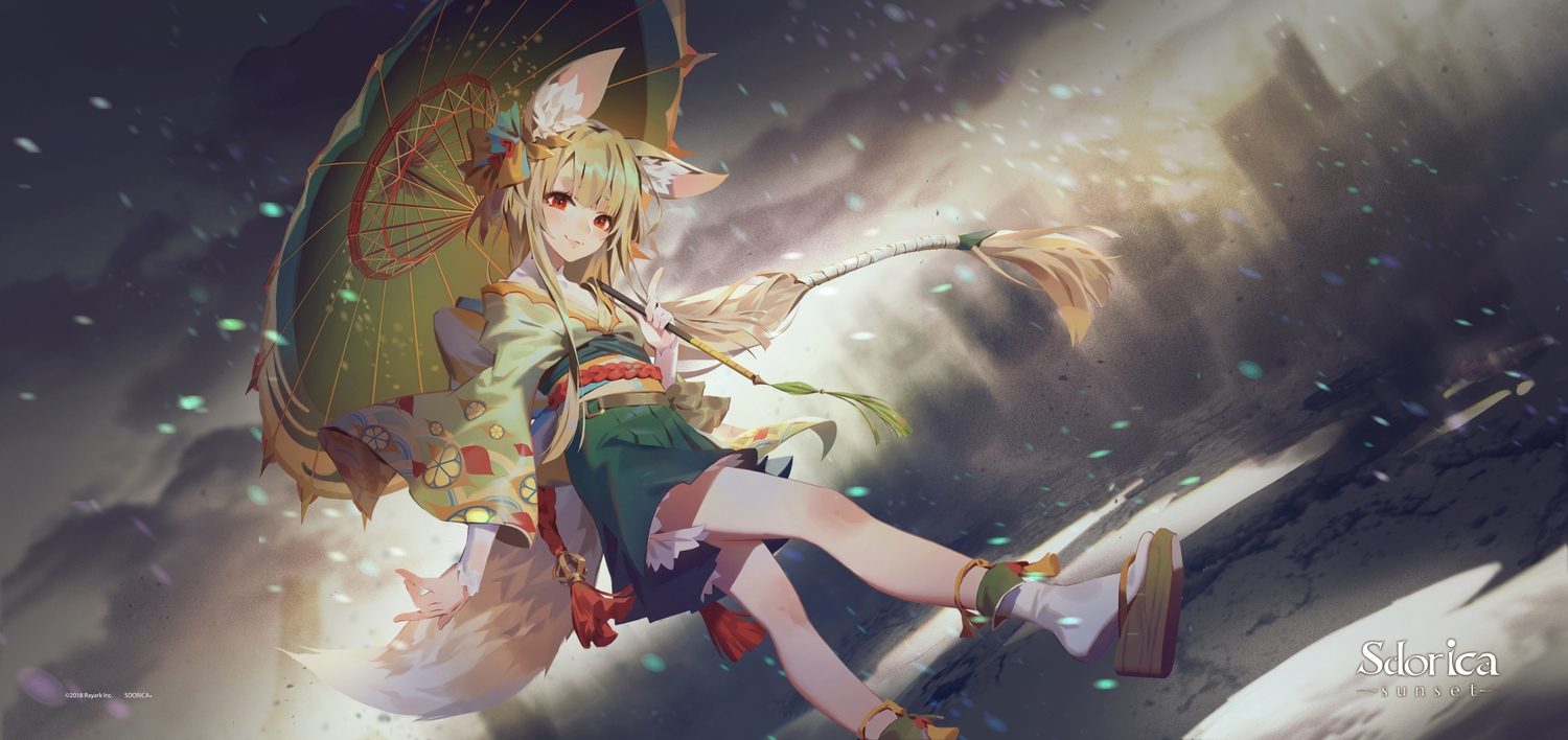 animal_ears blonde_hair foxgirl izumi_(sdorica) japanese_clothes kimono lamier logo long_hair red_eyes sdorica_-sunset- socks tail umbrella