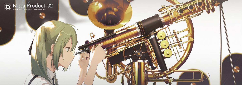 green_eyes green_hair hatsune_miku instrument kieed twintails vocaloid